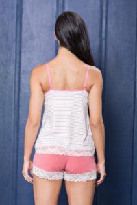 Pijama curto de visco e detalhe em renda costas